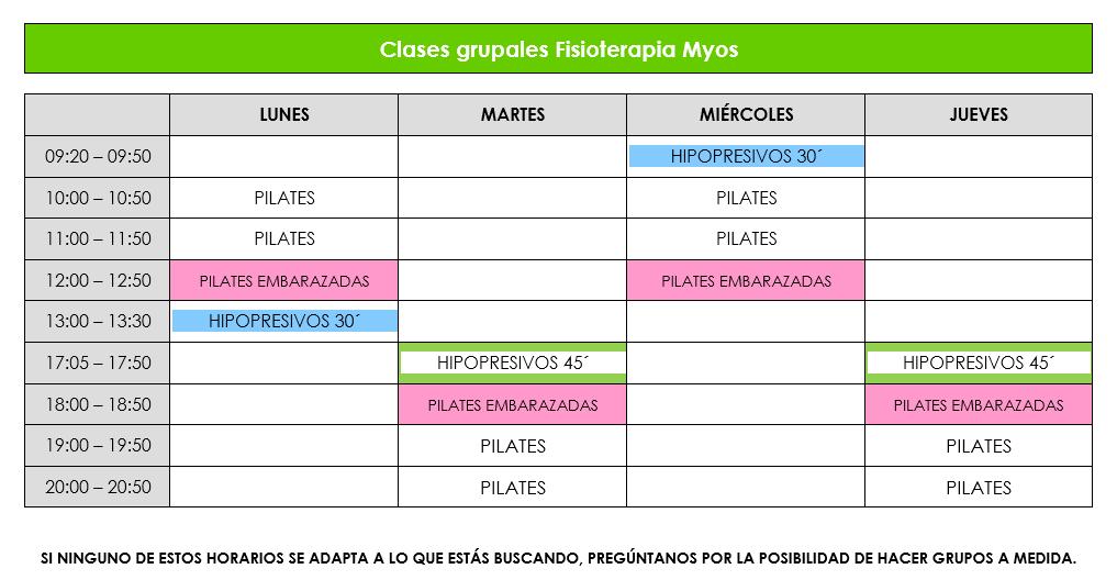 CLASES GRUPALES OCTUBRE 2020 - Pilates