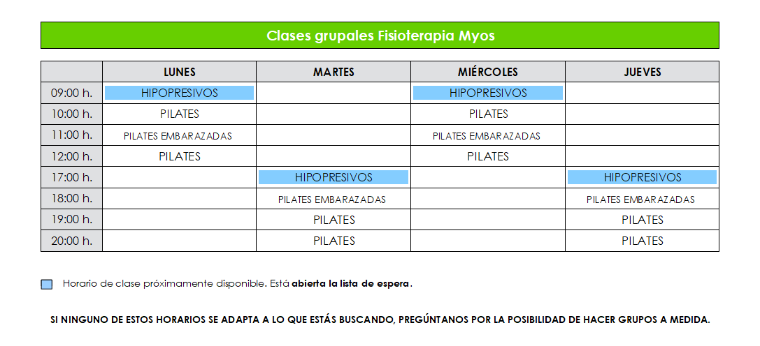 Clases grupales septiembre 2017